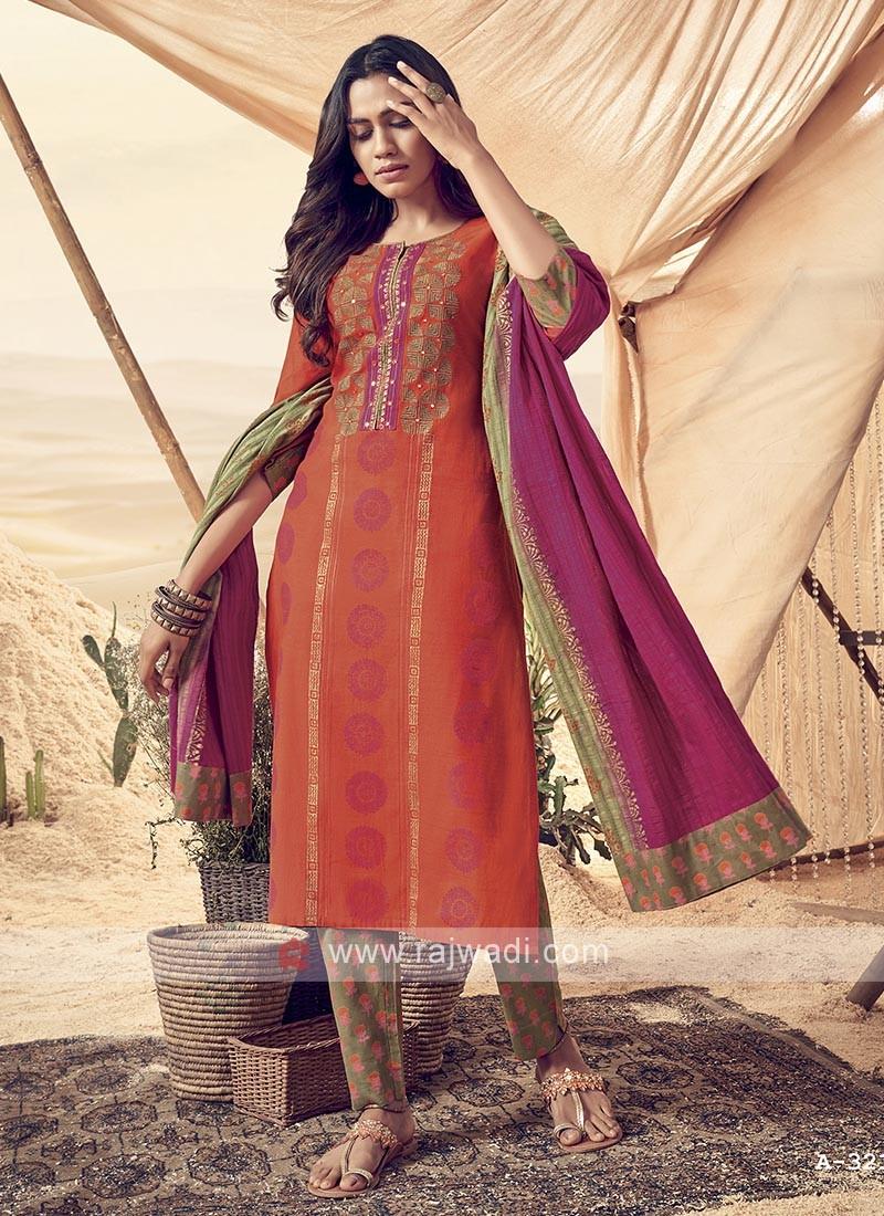 Shagufta Multi Color Cotton Pant Salwar Suit