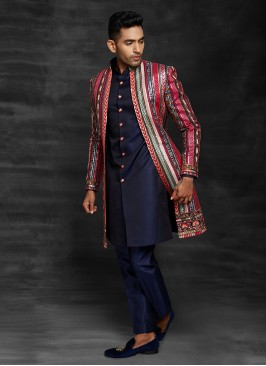 Multi Color Embroidery Work Indowestern