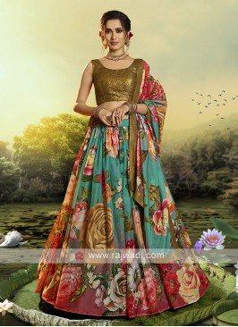 Multi Color Flower Printed Lehenga Choli