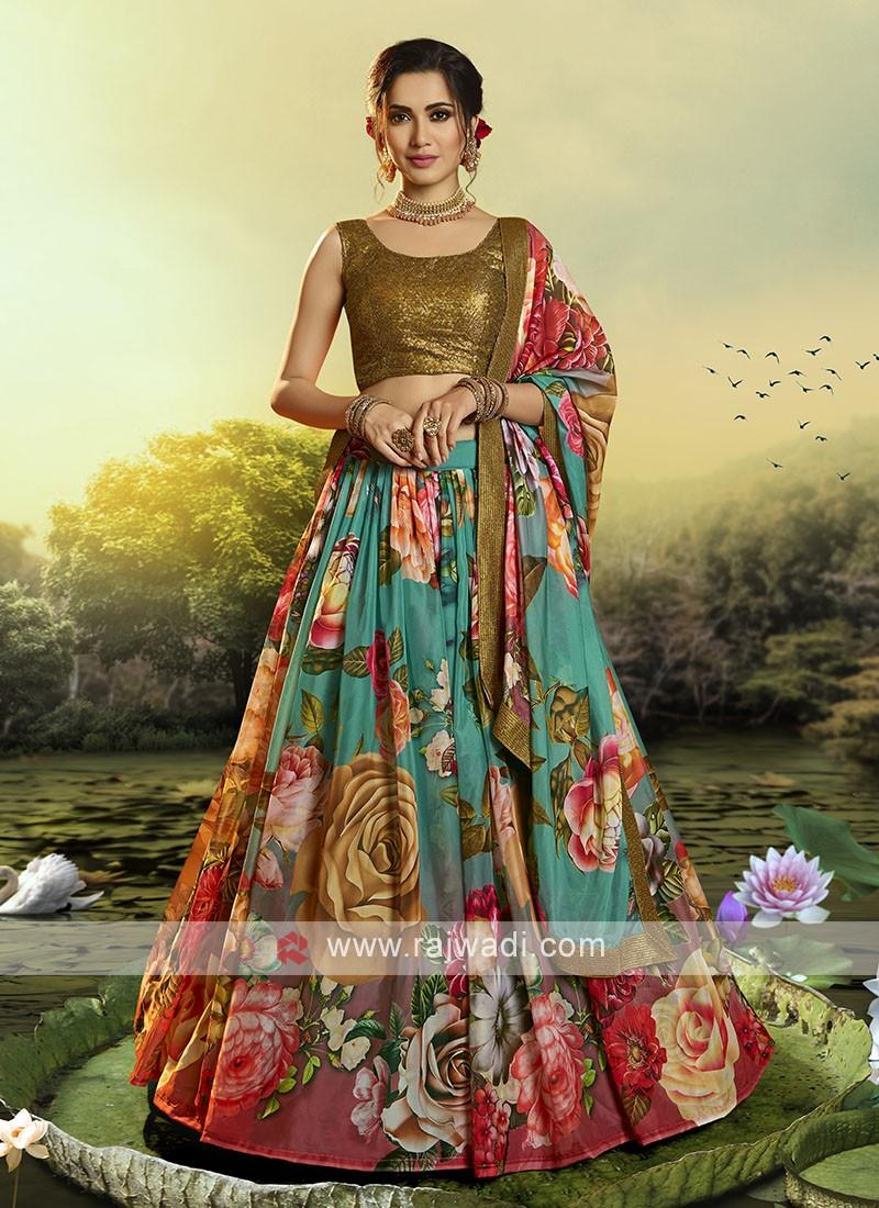 Multi Color Flower Printed Lehenga Choli