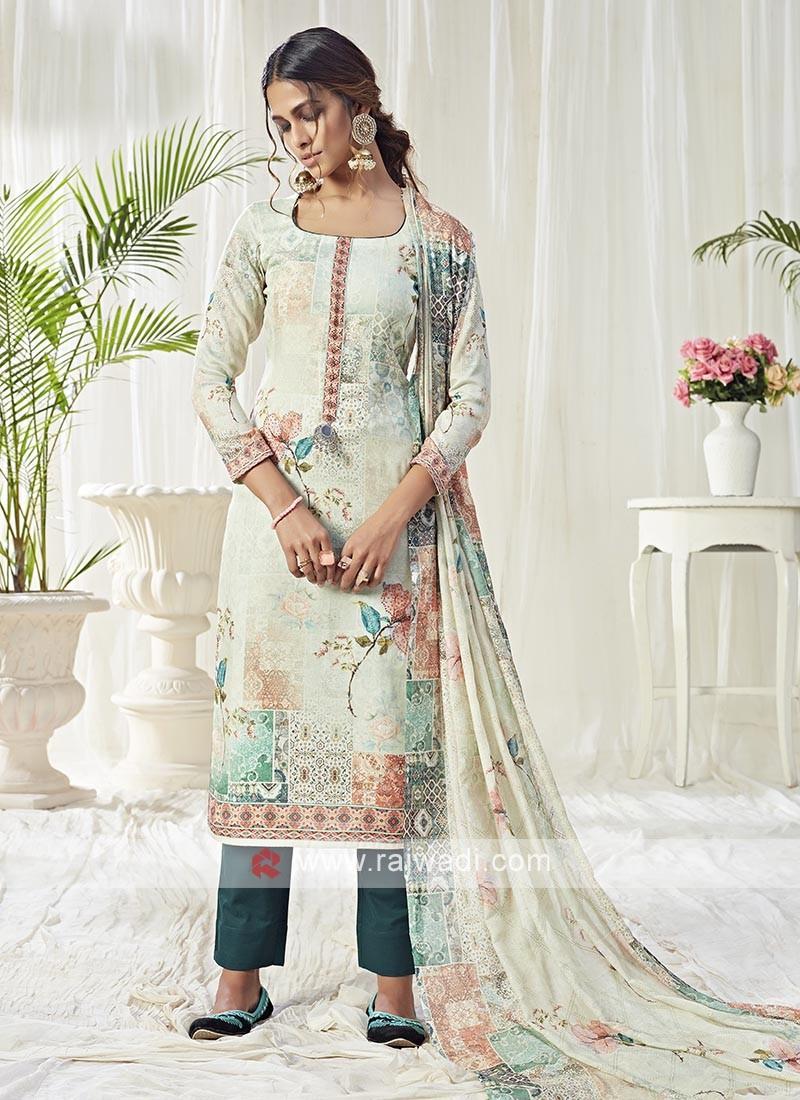 Multi Color Printed Dress Material