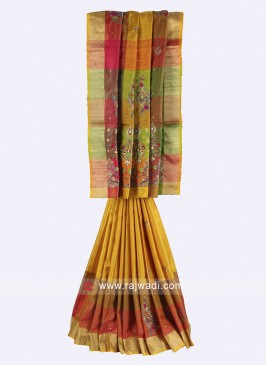 Multi color pure silk saree