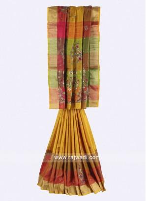 Multi color pure silk saree