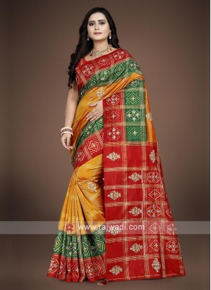 Multicolourd Pure silk saree with blouse