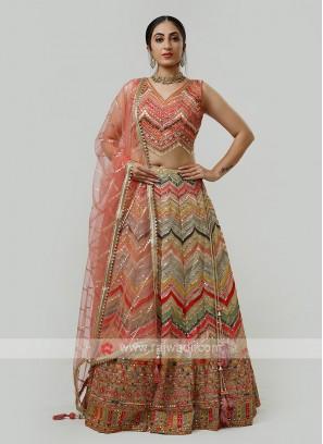Multi Color Silk Choli Suit
