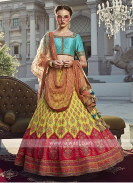Multi-color silk lehenga with net dupatta