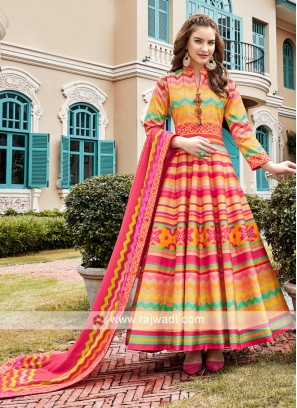 Multi Colour Anarkali Suit With Dupatta