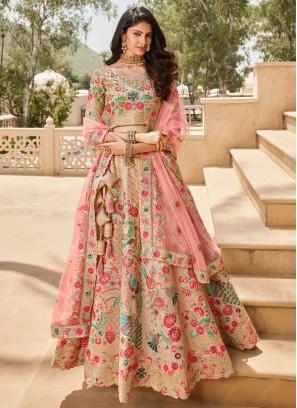 Multi Colour and Pink Engagement Lehenga Choli