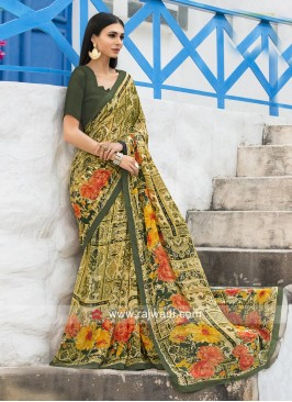 Multi Floral Print Saree with Plain Blouse