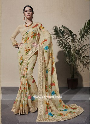 Multi Flower Print Party Wear Saree