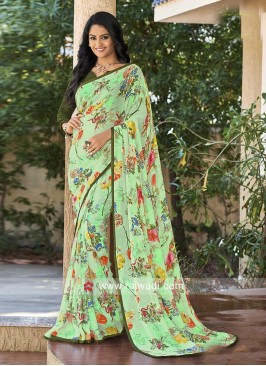 Multi Flower Print Saree with Plain Blouse