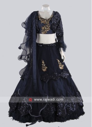 Multi Layer Designer Net Lehenga Set in Blue