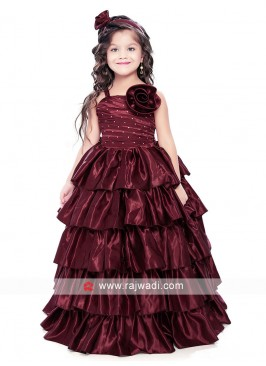 Multi Layer Flower Work Gown for Kids