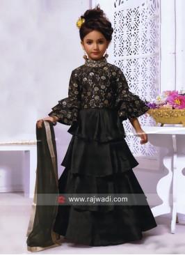 Multi Layer Kids Choli Suit with Dupatta