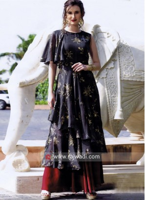 Multi Layer Long Kurti with Stone Work