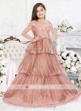 Multi Layer Peach Gown For Girls