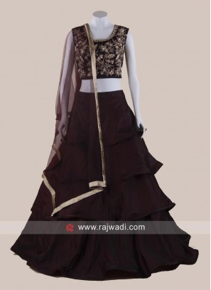Multi Layer Taffeta Lehenga Choli in Brown