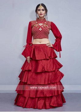 Multi Layered Art Silk Lehenga Choli