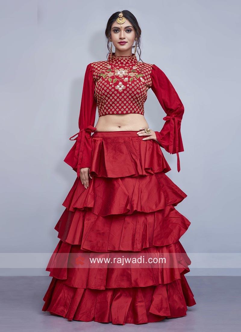 Multi Layered Art Silk Lehenga Choli