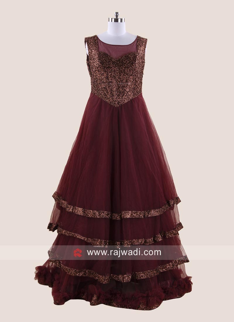 Multi Layered Gown in Maroon