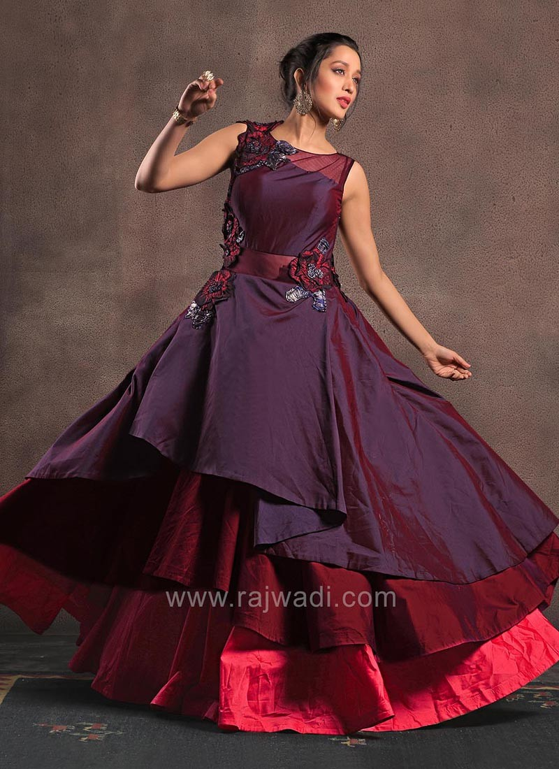 Multi Layered Gown in Shade of Maroon