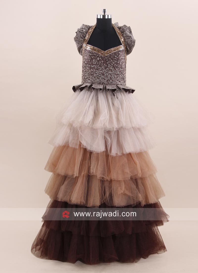 Multi Layered Stylish Gown in Net