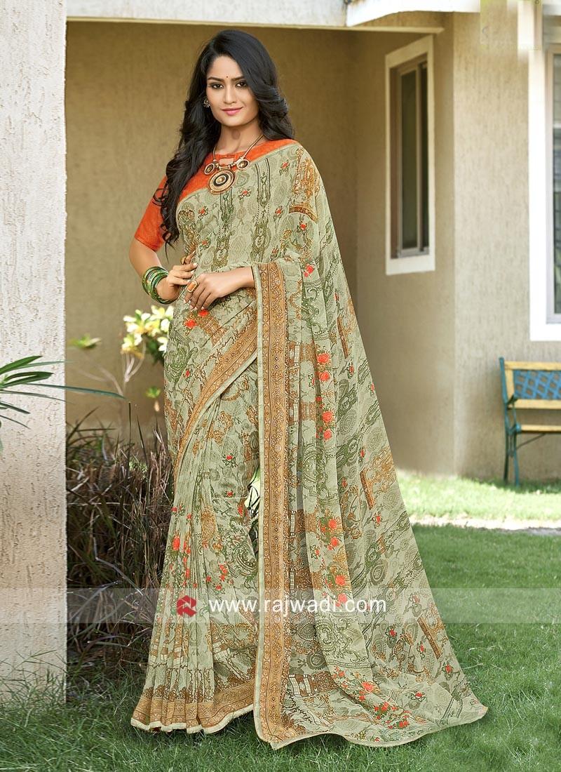 Multi Print Saree with Plain Blouse