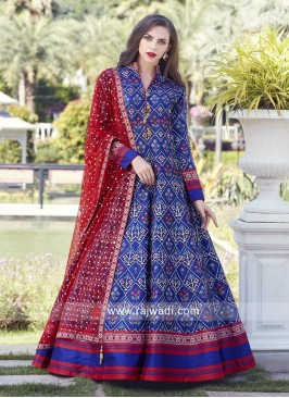 Multi Printed Designer Anarkali Suit