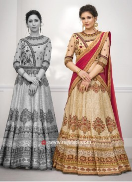Multi Printed Embroidery Lehenga Choli