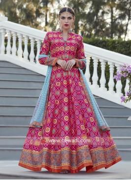 Multi Printed Floor Length Anarkali Suit