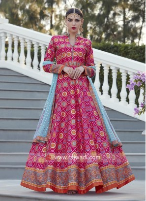 Multi Printed Floor Length Anarkali Suit