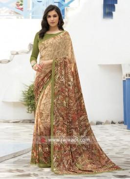 Multi Printed Saree with Blouse