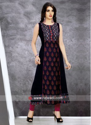 Multi Printed Semi Anarkali Kurti