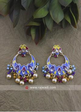 Multicolor Alloy Chandbali Earrings