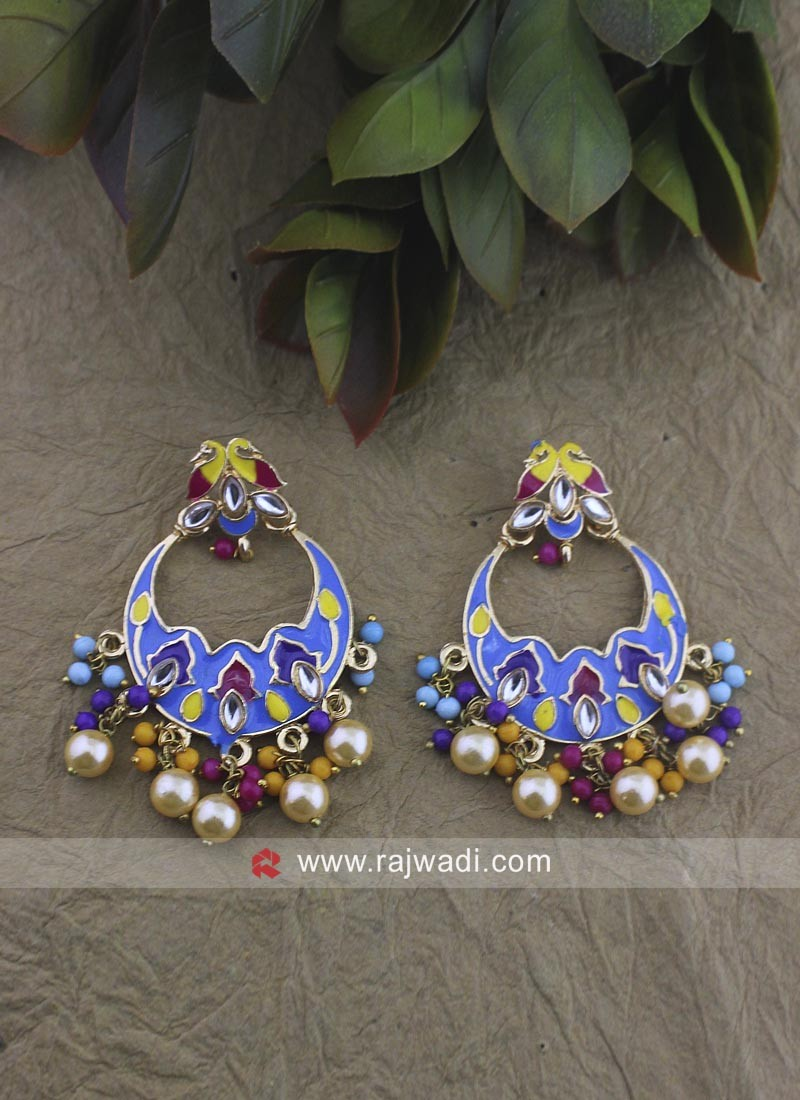 Multicolor Alloy Chandbali Earrings