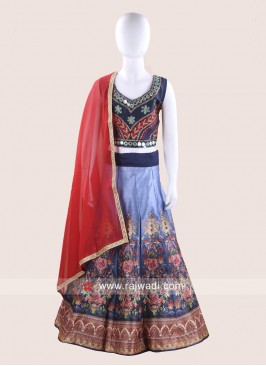 Multicolor Art Silk Kids Navratri Ghagra Choli
