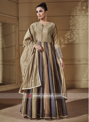 Multicolor Floor Length Anarkali Suit