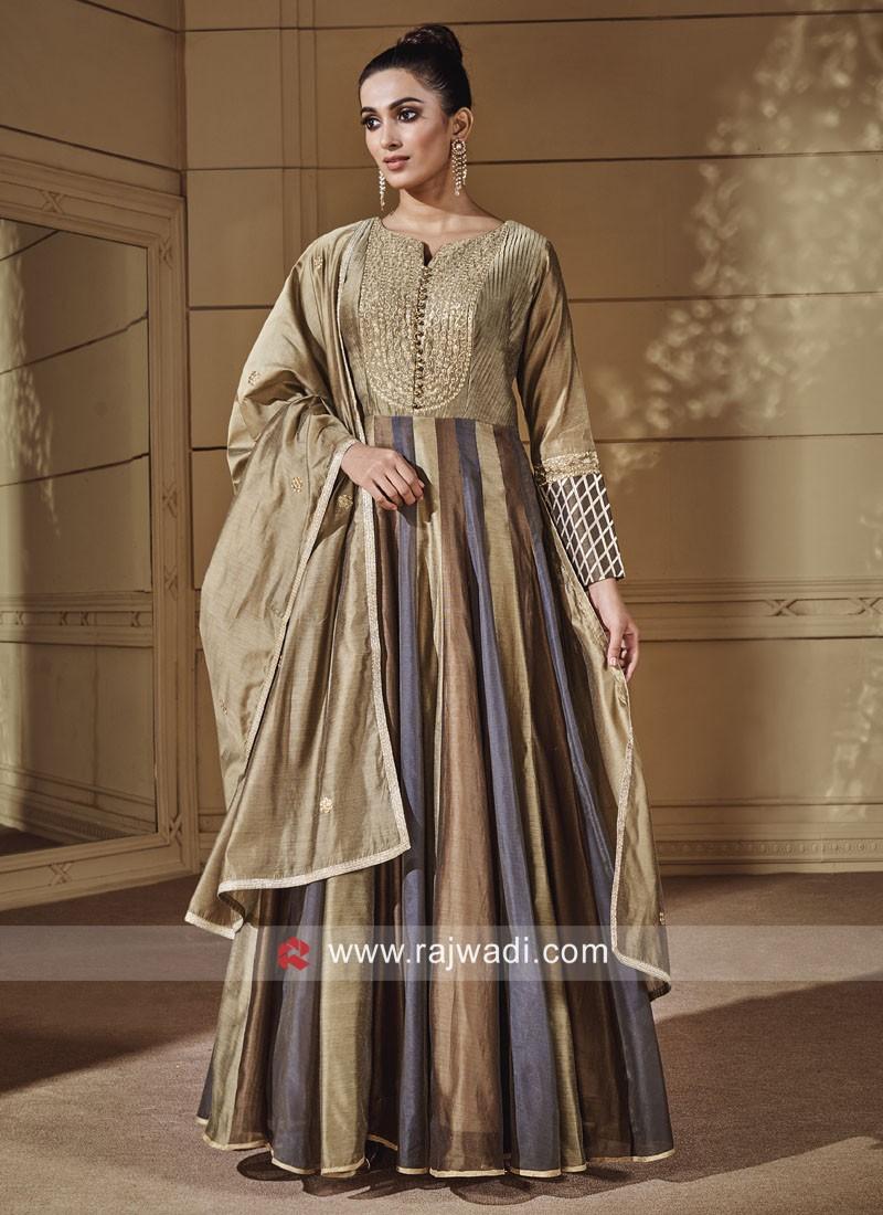 Multicolor Floor Length Anarkali Suit
