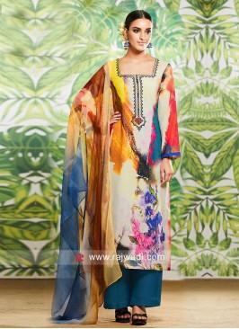 Multicolor Flower Print Palazzo Suit