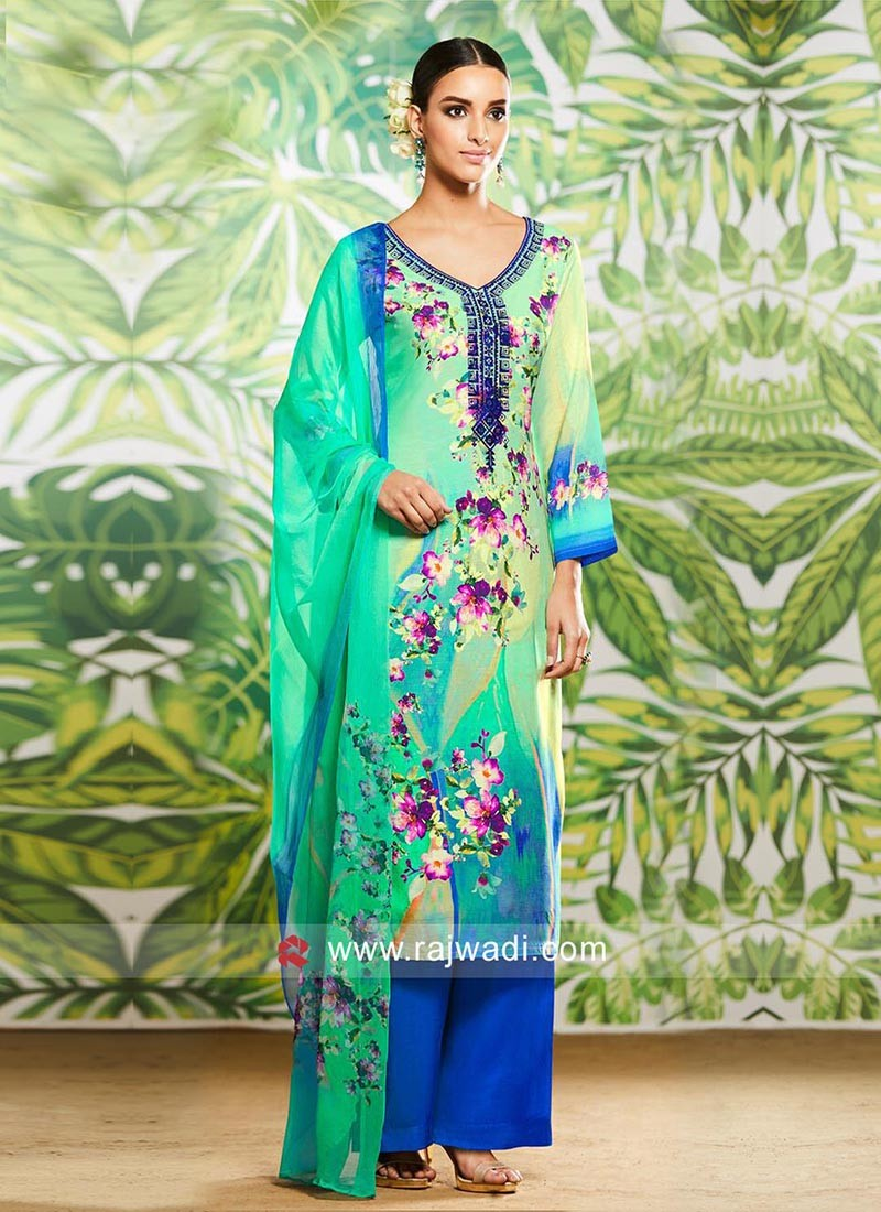 Multicolor Flower Print Salwar Kameez