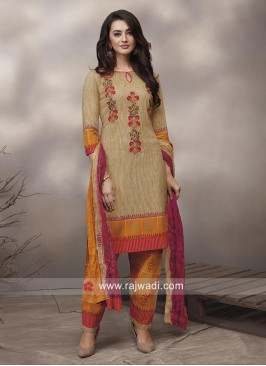 Multicolor Flower Print Salwar Suit