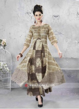 Multicolor Kurti with Chanderi Print Jacket