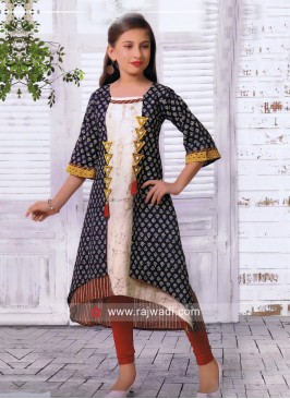 Multicolor Layered Kurta Set for Girls
