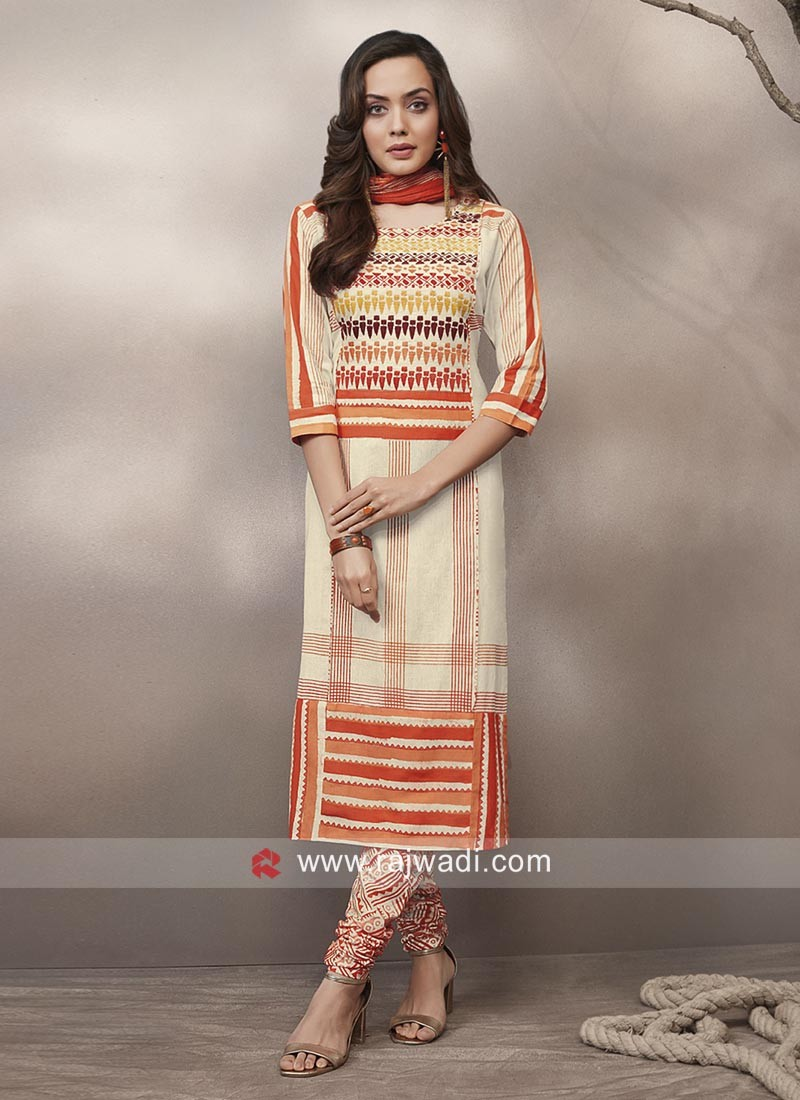 Multicolor Printed Cotton Salwar Kameez