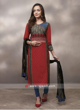 Multicolor Printed Salwar Suit with Shaded Dupatta