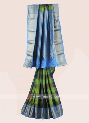 Multicolor Pure Silk Checks Saree