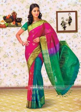 Multicolor Pure Silk Saree