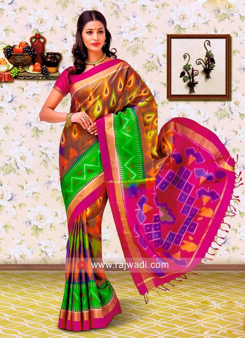 Multicolor Pure Silk Weaved Saree
