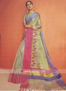 Multicolor Shimmer Cotton Silk Saree