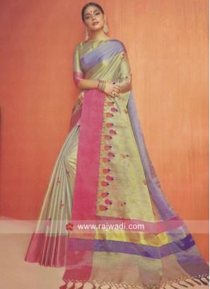 Multicolor Shimmer Cotton Silk Saree